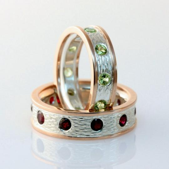 garnet peridot wedding rings - Peridot Wedding Rings